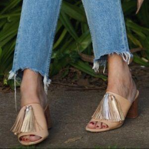 Loeffler Randall metallic tassel sandals mules 8.5
